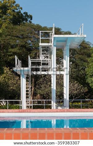 Public plunge pool in campus stadium - stock photo