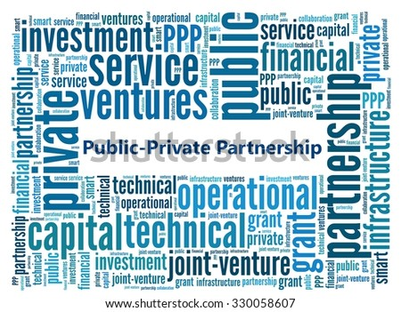 Public=Private Partnership in word collage - stock photo