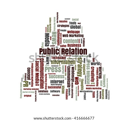 Public Relation word cloud shaped as a human body - stock photo