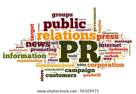 Public relations concept in word tag cloud on white background - stock photo