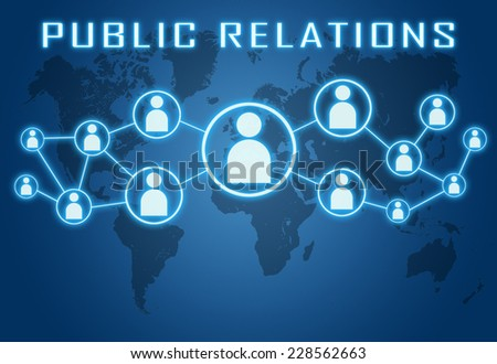 Public Relations concept on blue background with world map and social icons. - stock photo