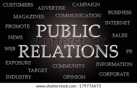 Public Relations word cloud written in luxurious chrome letters - stock photo