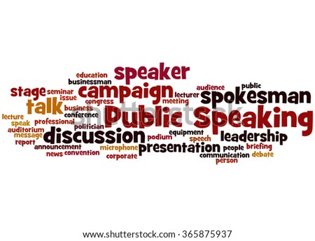 Public Speaking, word cloud concept on white background. - stock photo