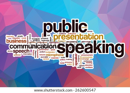Public speaking word cloud concept with abstract background - stock photo