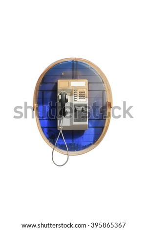 Public telephone on White selective focus with Work Paths, Clipping paths Included.  - stock photo