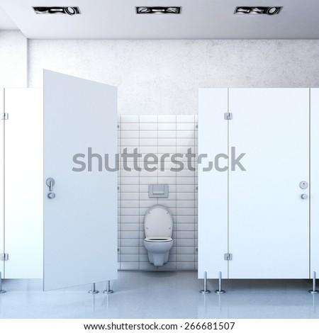 Public toilet cubicle. 3d rendering - stock photo