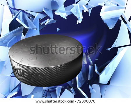 puck and crushed ice - stock photo