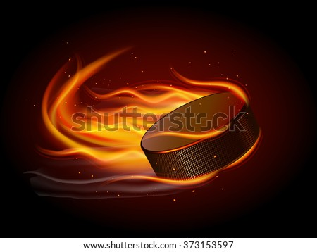 Puck In Fire - stock photo