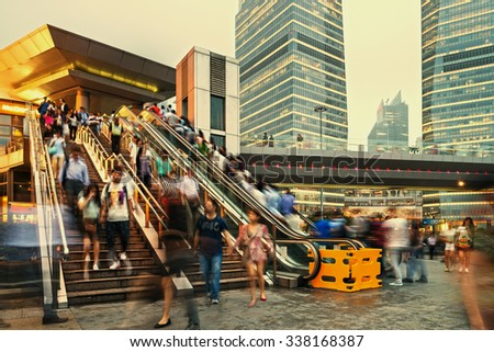 Pudong district houses Lujiazui Finance and Trade Zone and Shanghai - stock photo
