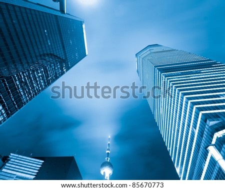 Pudong Shanghai China Shanghai international financial center of the night - stock photo