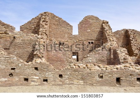 Pueblo del Arroyo ruins, Chaco Culture National Historical Park, New Mexico (USA) - stock photo
