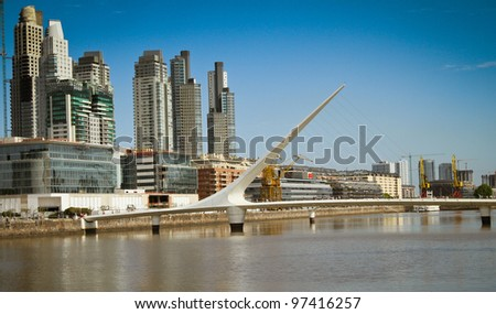 """Puente de la Mujer (Spanish for """"Woman's Bridge"""") is a footbridge in the new Puerto Madero comercial district of Buenos Aires, Argentina - stock photo"""