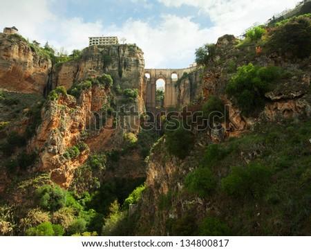 Puente Nuevo in El Tajo gorge, Ronda.    Ronda  is a city in the Spanish province of Malaga. - stock photo