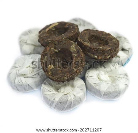 Puer mint pressed black tea - stock photo