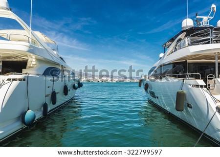 Puerto Banus, a marina near Marbella in Costa del Sol, Andalusia, Spain - stock photo
