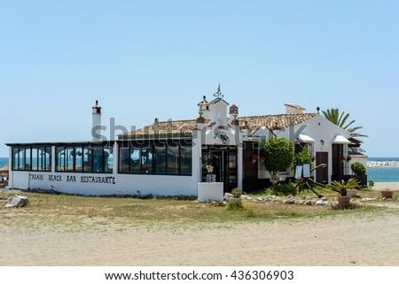 PUERTO BANUS ANDALUCIA/SPAIN - MAY 26 : Beach Restaurant in Puerto Banus Spain on May 26, 2016 - stock photo