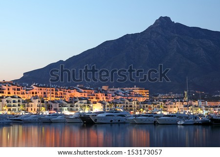 Puerto Banus at dusk, marina of Marbella, Spain - stock photo