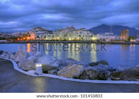 Puerto Banus in the night.Puerto Banus is the expression of luxury for Costa del Sol. - stock photo