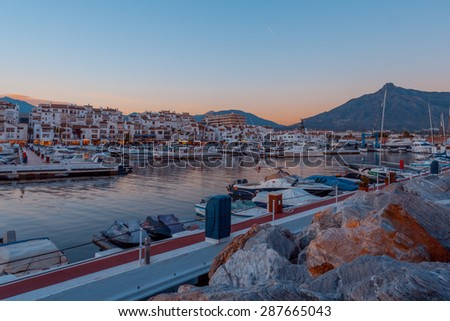Puerto Banus, Marbella, Spain. - october 8, 2014: Puerto Jose Banus, It was built in May 1970 by Jose Banus. More commonly known as Puerto Banus is one of the most exclusive marina. - stock photo