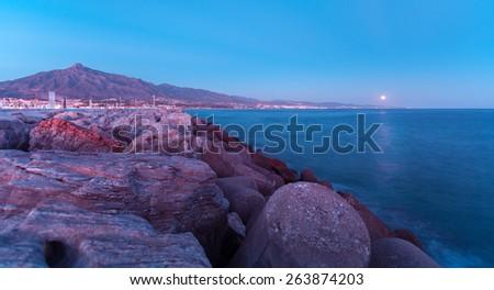Puerto Banus twilight night at Marbella, Spain  - stock photo