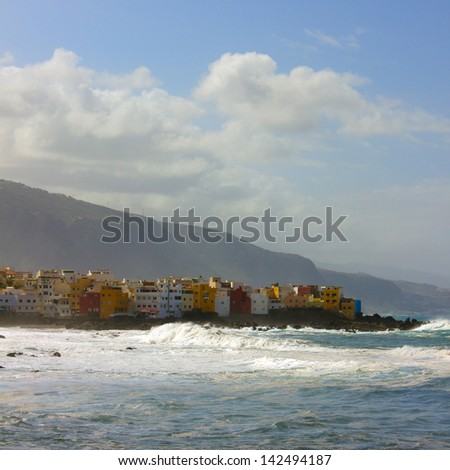 Puerto de la Cruz and beach Jardin, Tenerife, Spain - stock photo