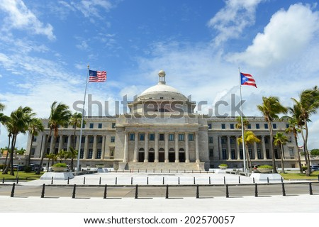 Puerto Rico Capitol (Capitolio de Puerto Rico) is a Beaux-Arts Building at downtown San Juan, Puerto Rico. - stock photo