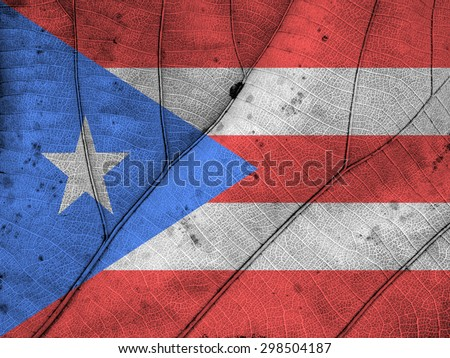 Puerto Rico flag leaf texture - stock photo
