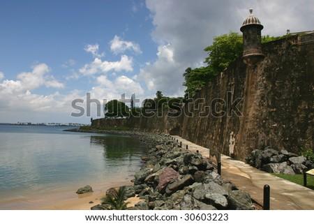 Puerto Rico Paseo along El Moro Wall - stock photo