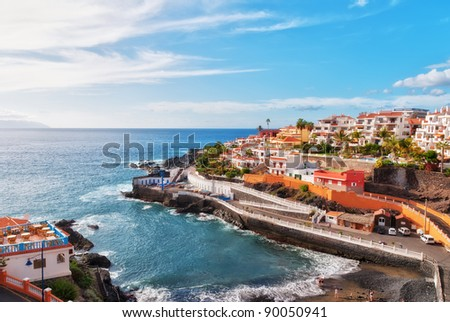 Puerto Santiago, Tenerife, in the Spanish Canary Islands - stock photo