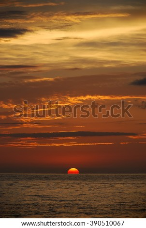 Puerto Vallarta is famous by its beautiful sunsets. This is one of them. - stock photo