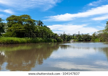 Puerto Viejo de Sarapiqui river in Costa -Rica - stock photo