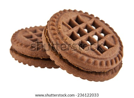 puff cookie on a white background - stock photo