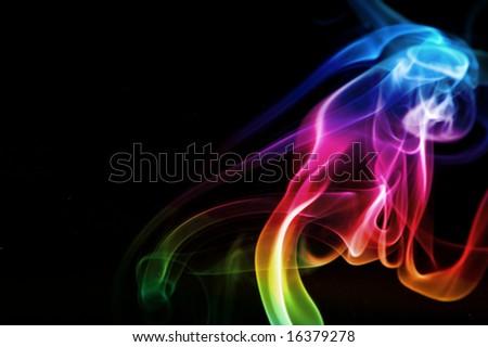 puff of rainbow smoke - stock photo