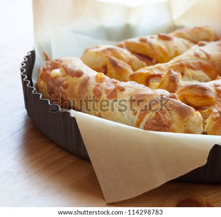 Puff pastry cheese bread - stock photo