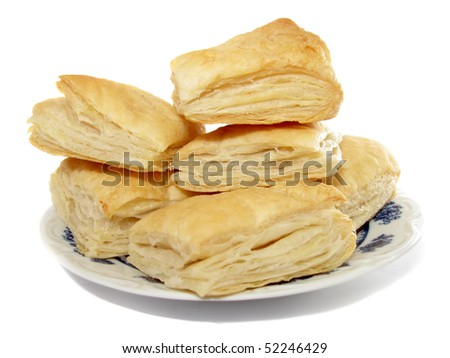 Puff pastry on the plate - stock photo