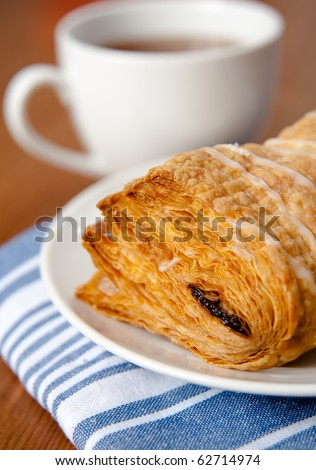 Puff Pastry with Cup of Tea - stock photo