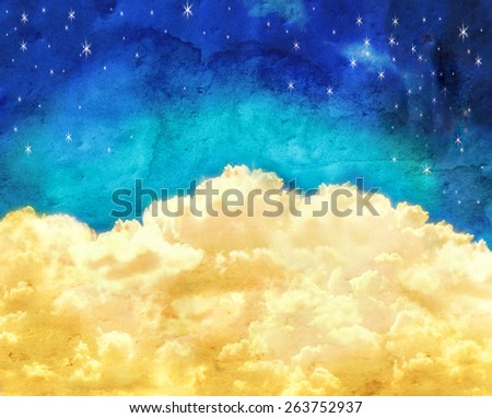 puffy clouds and a blue sky with twinkling stars done with a texture overlay of grunge - stock photo