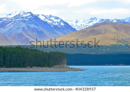 Pukaki lake, New Zealand - stock photo