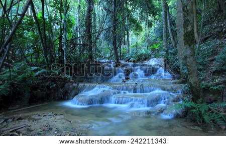 Pukang Waterfall, Paradise waterfall in Tropical rain forest of Thailand , water fall in deep forest at border of Chaing rai and phayao province Thailand .  - stock photo