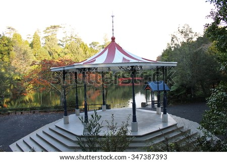 Pukekura Park Band Rotunda - Taranaki Landmark - stock photo