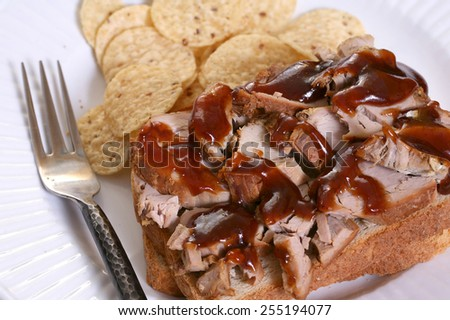 Pulled pork sandwich with barbecue sauce and chips - stock photo