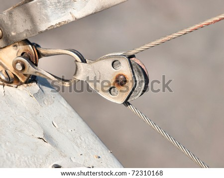 Pulley detail on sport catamaran - stock photo