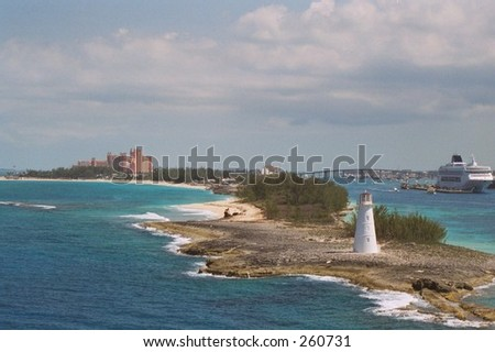 Pulling into Port at Nassau Bahamas - stock photo