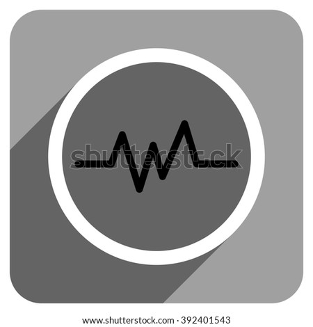 Pulse Monitoring long shadow glyph icon. Style is a flat pulse monitoring iconic symbol on a gray square background. - stock photo