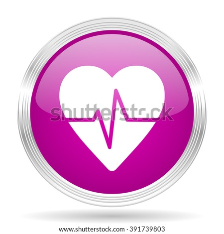 pulse pink modern web design glossy circle icon - stock photo