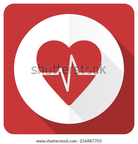 pulse red flat icon heart rate sign  - stock photo