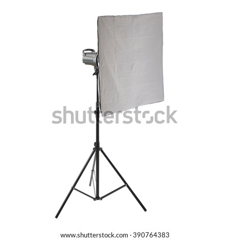 Pulse studio flash with square softbox on a stand over isolated white background - stock photo