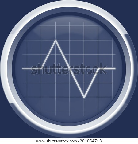 Pulse to the cardiomonitor screen or oscilloscope in blue tones, background - stock photo