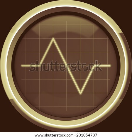 Pulse to the cardiomonitor screen or oscilloscope in brown tones, background - stock photo