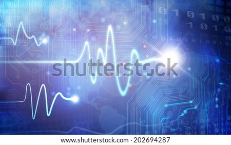 Pulse Trace drawing and computer design - stock photo